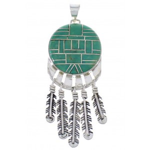 Turquoise Inlay Feather Jewelry Pendant PX28988