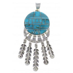 Genuine Sterling Silver Feather Turquoise Pendant PX28994