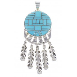Turquoise And Silver Feather Southwestern Pendant PX28996