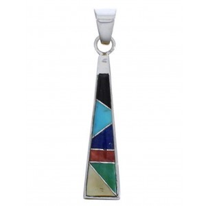 Southwest Sterling Silver Multicolor Inlay Pendant EX30529