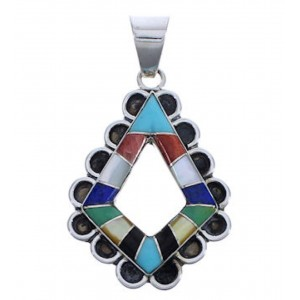 Southwest Multicolor Inlay Sterling Silver Pendant EX30585