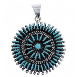 Sterling Silver And Turquoise Needlepoint Slide Pendant EX30605