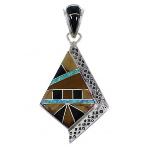 Tiger Eye And Multicolor Sterling Silver Southwest Pendant EX28822