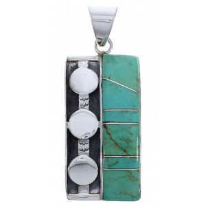 Silver Sturdy Jewelry Southwestern Turquoise Inlay Pendant PX30669