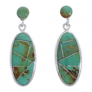 Sterling Silver And Turquoise Jewelry Post Dangle Earrings PX30684