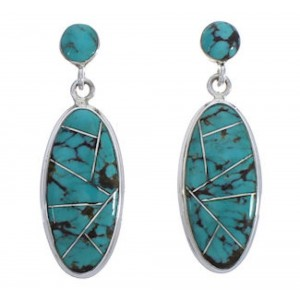 Silver Jewelry Turquoise Inlay Post Dangle Earrings PX30692