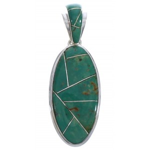 Sterling Silver Jewelry Turquoise Inlay Pendant PX30727