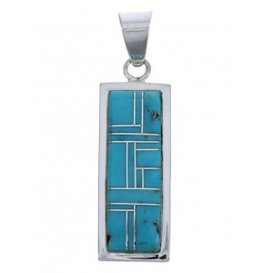 Genuine Sterling Silver Turquoise Southwest Pendant EX29183