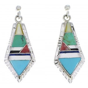 Sterling Silver And Multicolor Inlay Earrings EX31683