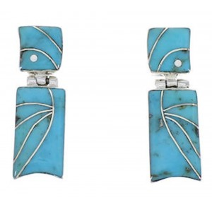 Southwest Turquoise Inlay And Silver Earrings EX31706