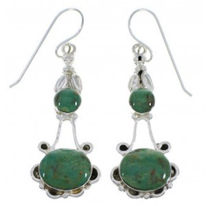 Genuine Sterling Silver And Turquoise Earrings EX31734
