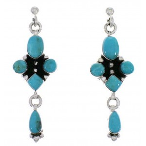 Sterling Silver Southwest Turquoise Post Dangle Earrings EX30089