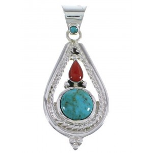 Coral Turquoise Jewelry Sterling Silver Pendant FX30889