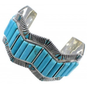 Genuine Sterling Silver Turquoise Southwest Cuff Bracelet EX29371