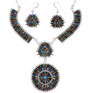 Turquoise Multicolor Link Necklace Earrings Jewelry Set NS34987