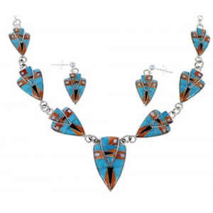 Multicolor Inlay Sterling Silver Link Necklace Earrings Set NS41224
