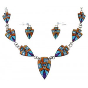 Mother Of Pearl Multicolor Sterling Silver Link Necklace Set NS41223