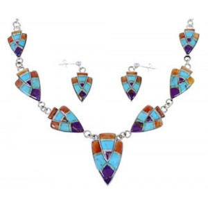 Multicolor Sterling Silver Link Necklace Earrings Jewelry Set RS34210