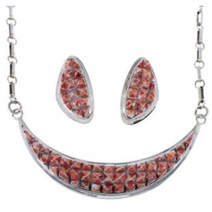 Red Oyster Shell And Opal Inlay Necklace Earring Jewelry Set RS53657
