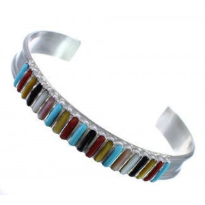 Zuni Indian Jewelry Sterling Silver Multicolor Inlay Bracelet RS49226