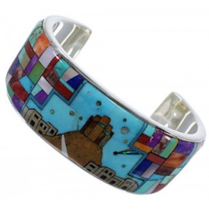 Multicolor Silver Native American Village Design Cuff Bracelet TX40346