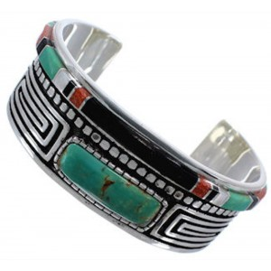 Sterling Silver Multicolor Jewelry Cuff Bracelet TX40450