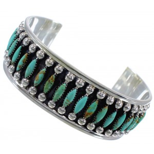 Silver Turquoise Needlepoint Southwest Cuff Bracelet Jewelry CX47691