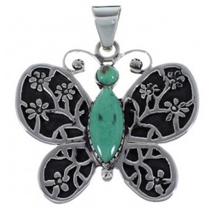 Silver Turquoise Butterfly And Flower Pendant AX49347