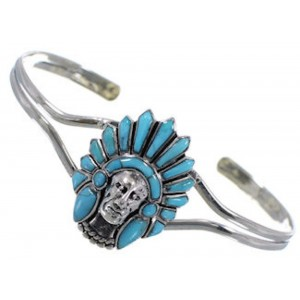 Sterling Silver Jewelry Turquoise Inlay Chief Head Bracelet RS40890