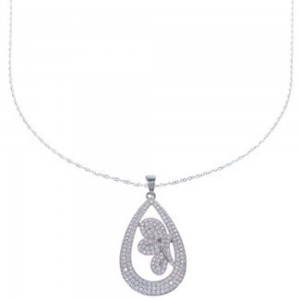 "CZ Pendant Sterling Silver 18"" Italian Chain Necklace NS55713"