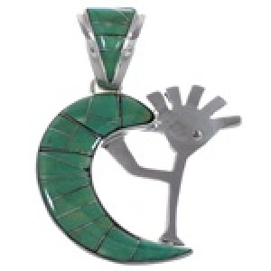 Turquoise Whiterock Sterling Silver Kokopelli Pendant RS36154