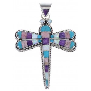 Sterling Silver Dragonfly Turquoise Multicolor Inlay Pendant DS37256