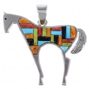 Multicolor Inlay Genuine Sterling Silver Horse Slide Pendant AS35059