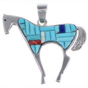 Turquoise Lapis Multicolor Inlay Sterling Silver Horse Pendant HS24220