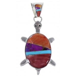 Turquoise And Multicolor Sterling Silver Turtle Slide Pendant AS35196