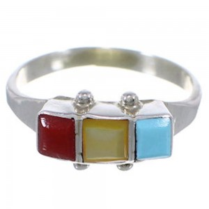 Native American Multicolor Silver Zuni Indian Ring Size 8-1/4 FX26802