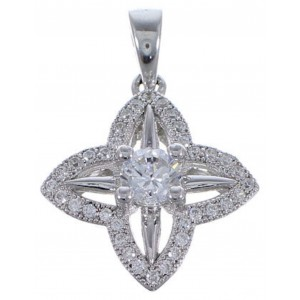 Cubic Zirconia Genuine Sterling Silver Jewelry Pendant  NS55998