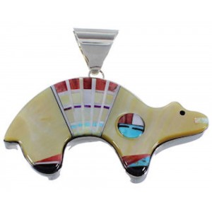 Turquoise Multicolor Inlay Sterling Silver Bear Sun Pendant DS39198