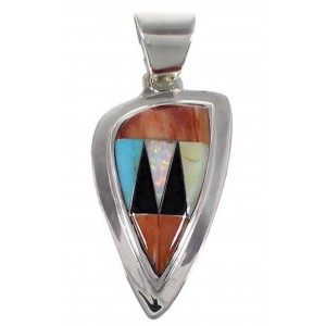 Sterling Silver Oyster Shell And Multicolor Slide Pendant RS45679