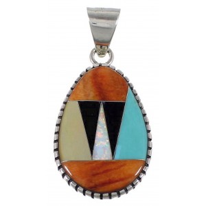 Turquoise Multicolor Inlay Sterling Silver Pendant Jewelry RS40067