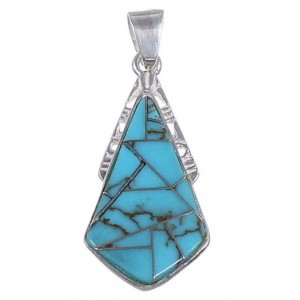 Turquoise Inlay And Sterling Silver Pendant Jewelry DS51876