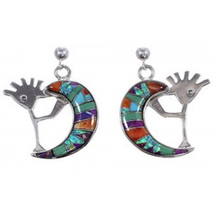 Whiterock Sterling Silver Multicolor Kokopelli Post Earrings RS36108