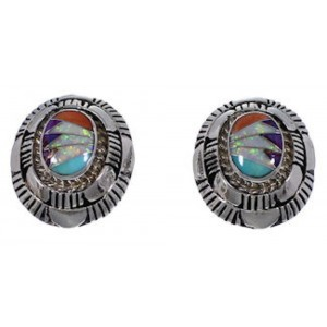 Turquoise And Multicolor Inlay Sterling Silver Post Earrings AS34559