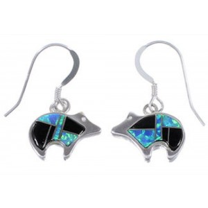 Opal and Jet Inlay Sterling Silver Bear Hook Dangle Earrings RS33482