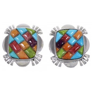 Genuine Sterling Silver Turquoise Multicolor Post Earrings DS41467