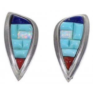 Turquoise Multicolor Jewelry Sterling Silver Post Earrings HS28093