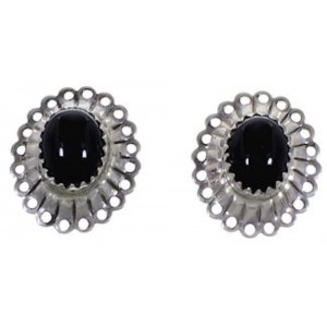 Genuine Sterling Silver Onyx Concho Clip On Earrings AS3986
