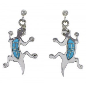 Turquoise Inlay Genuine Sterling Silver Lizard Post Earrings NS33629