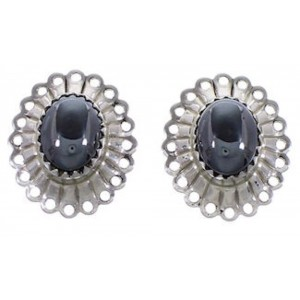 Sterling Silver Hematite Concho Post Earrings AS4003