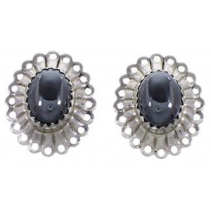 Hematite And Sterling Silver Concho Clip On Earrings AS53039